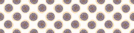 Seamless Embroidery Dot Vector Border Pattern. Modern Geometric Hand Drawn Stitch Circle. Watercolor and Organic Hand Stitched Spotty Banner Edge. Organic Polka Dot Shape. Minimalist Washi Tape.