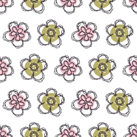 Modern Doodle Daisy Seamless Pattern. Hand Drawn Scribble Flower Repeat . Dot Blossom Background. Organic VintageLine Art. For Summer Textile, Packaging All over print. Cute Wallpaper.