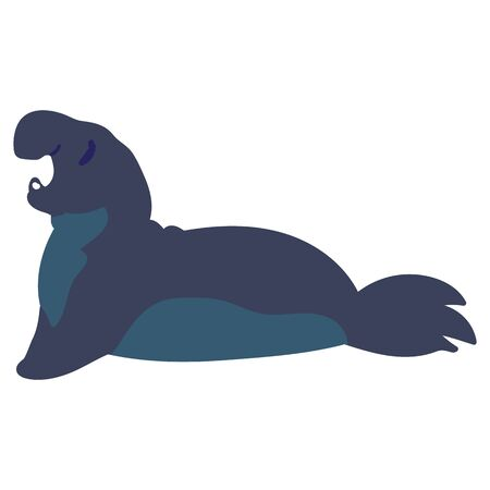 Adorable Cartoon Elephant Seal Clip Art. Water Animal Icon. Hand Drawn Cute Predator Motif Illustration Doodle Lineless Flat Color. Isolated sea, Nursery and Nautical Wildlife Character.