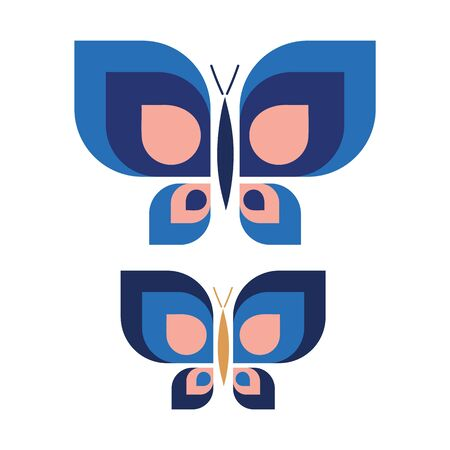 Two Vintage Geometric Butterfly Vector Illustration. Hand Drawn 60s Style Garden Insect Simple Motif. Retro Classic Light Pink and Blue Bug Wildlife Clip Art.