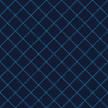 Diagonal Trellis Stripe Texture. Denim Indigo Blue Regular Tone on Tone. Masculine Diamond Grid Seamless Pattern Swatch Background. Dark Navy Minimalistic Geometric Repeat Tile Vector. 向量圖像