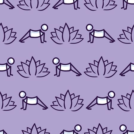 Stick figure cobra yoga pose with lotus flower seamless vector pattern. Hand drawn peace zen and wellness background. Physical exercise fitness home decor. Health aerobics all. 向量圖像