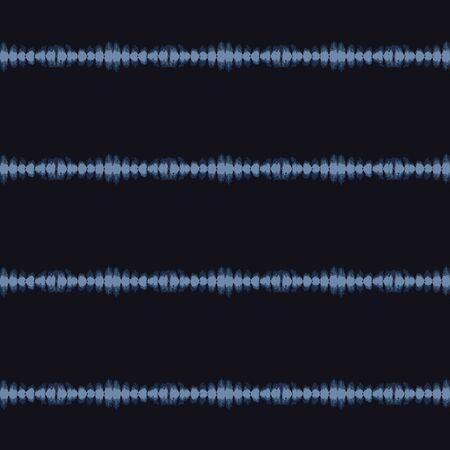 Broken Thin Stripe Shibori Tie Dye Indigo Blue Texture Background. Bleached Handmade Resist Seamless Pattern. Cloth Effect Textile. Classic Japan or Indonesian All Over Print.