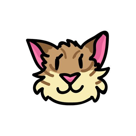 Cute tabby cat face with meow text clipart. Hand drawn pet kitty animal. Fun feline mammal doodle in flat color. Isolated fauna, kawaii, striped.