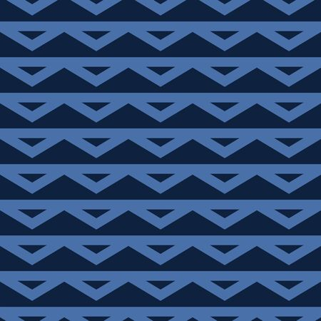 Indigo Denim Blue Chevron Stripe Texture Background. Triangle Lace Trim Geometric Seamless Pattern. Lines for Kelim Edge Japanese Dye Masculine Textile Swatch. Monochrome Repeat Tile.