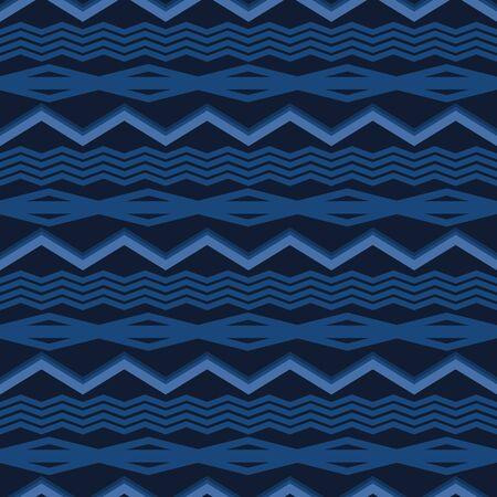 Indigo Denim Blue Chevron Stripe Texture Background. Ethnic Geometric Seamless Pattern. Wavy Lines for Kelim Edge Japanese Dye Style Masculine Textile Swatch. Monochrome Repeat Tile Vector EPS10 向量圖像