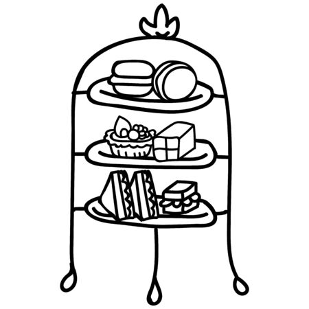 Cute afternoon tea cake stand clipart. Hand drawn breakfast treat pastry. Cupcake domestic crockery lineart in flat color. Monochrome isolated cream tea, cafe.