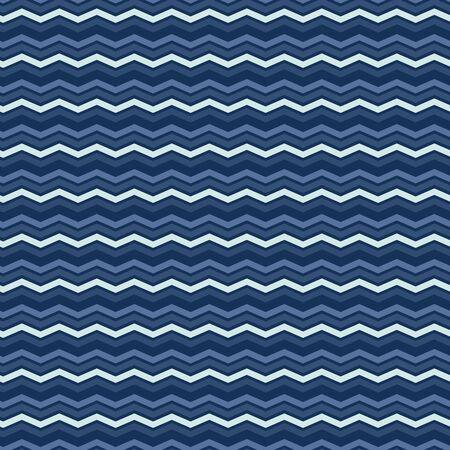 Indigo Denim Blue Chevron Stripe Texture Background. Water Ripples Seamless Pattern. Wavy Lines for Kelim Edge Japanese Dye Style Masculine Textile Swatch. 向量圖像