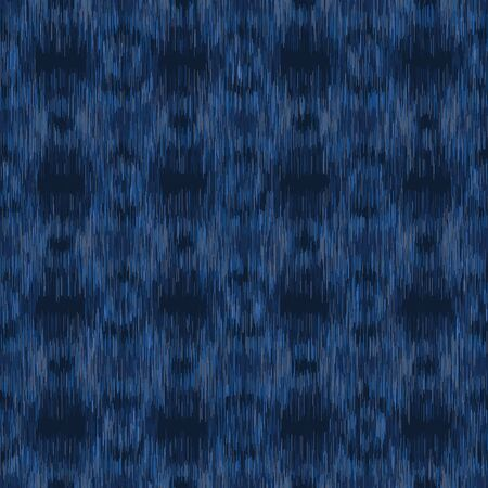 Dyed Denim Blue Marl Ikat Texture. Variegated Heathered Tie Dye Background. Vertical Blended Line Seamless Pattern. Bleached Indigo Jersey Textile, Triblend Melange All Over Print.