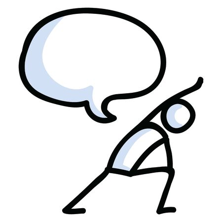 Hand drawn stick figure lunge yoga pose. Concept of stretching exercise for wellness illustration. Simple icon motif for relax fitness workout.