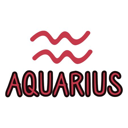 Aquarius star sign zodiac symbol clip art. Mystic esoteric astrological sign. Magic horoscope illustration doodle in flat colour. Isolated spirituality Illustration