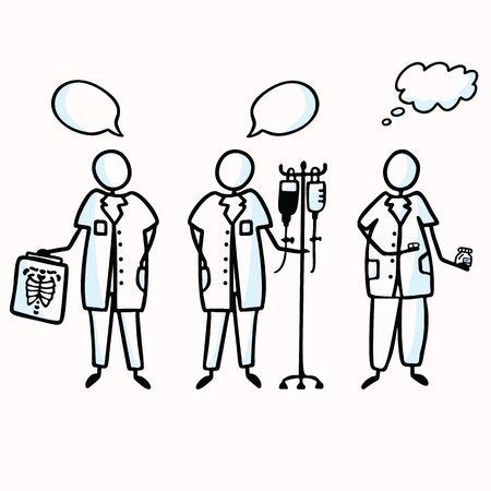 Hand Drawn Stick Figure Nurses with Xray Chart, IV, Medication Speech Bubble. Concept Health Care Medical Hospital. Cartoon Motif for Surgery Treatment Clip art Illustration. Set of 3