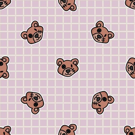 Cute button eyed teddy bear plush head seamless vector pattern. Hand drawn kids soft toy on gingham background. Cuddly fluffy animal home decor. Love, child, cub all over print. Illustration