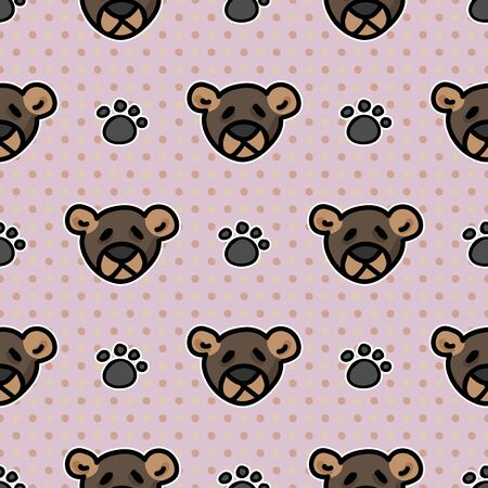 Cute stuffed teddy bear plush with paw pad seamless vector pattern. Hand drawn kids soft toy on striped background. Cuddly fluffy animal home decor. Joy, child, cub all over print.