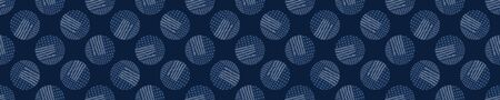 Embroidery Border Boro Fabric Circle. Sashiko Kantha Vector Pattern. Needlework Seamless Banner Edging. Indigo Blue Running Hand Stitch Texture Trim. Wabi Sabi Textile Japan Decor. Washi Tape