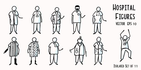 Hand Drawn Stick Figure Nurses, Doctor, Surgeon, Technician, Physio Patients. Concept Health Care Medical Hospital. Cartoon Motif Doodle People Clipart Illustration. Isolated Set of 11 Illustration
