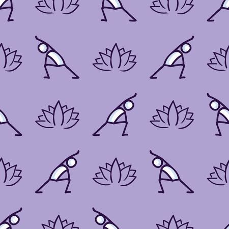 Stick figure lunge yoga pose with lotus flower seamless vector pattern. Hand drawn peace zen and wellness background. Physical exercise fitness home decor. Health aerobics all over print.