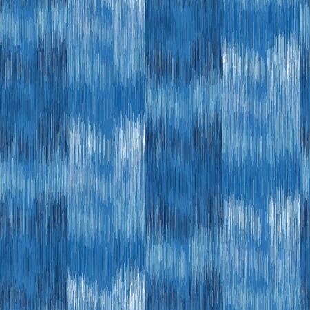 Dyed Denim Blue Marl Variegated Heathered Texture Background. Vertical Blended Line Seamless Pattern. For T-Shirt Fabric. Bleached Indigo Jersey Textile, Triblend Melange All Over Print Illustration