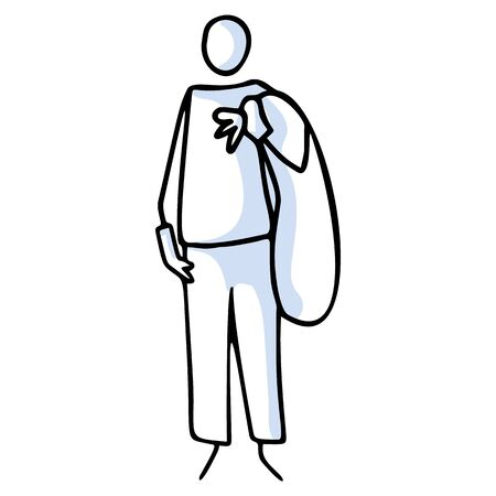 Hand drawn stick figures holding rubbish bag. Concept of clean up earth. Simple icon motif for environmental earth day, volunteer clipart, recycling illustration