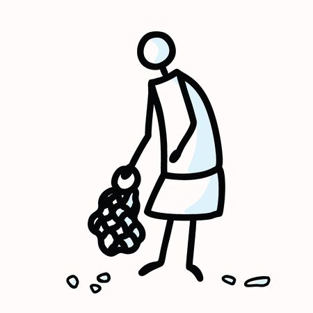 Hand Drawn Stick Figure Trash Collecting. Concept of Clean Up Earth Day. Simple Icon Motif for Environmental Earth Day, Volunteer Clipart, Eco Rubbish Recycling Awareness Illustration