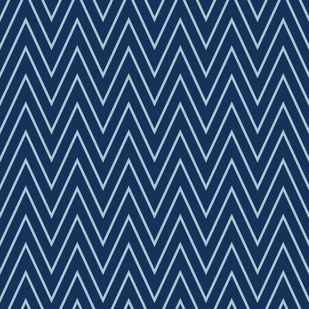 Indigo Denim Blue Chevron Stripe Texture Background. Ethnic Geometric Seamless Pattern. Wavy Lines for Kelim Edge Japanese Dye Style Masculine Textile Swatch. Monochrome Repeat Tile Vector EPS10 Illustration