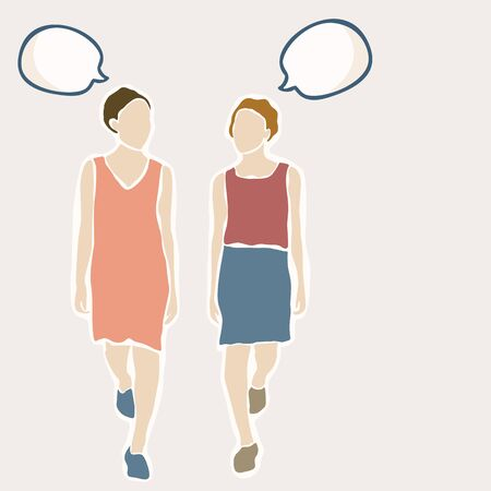 2 Female Women in Summer Dress Walking and Speaking. Concept of Conversation, Talk With Isolated Speech Bubble. Add Text Illustration. Young Caucasian Girl Brunette Short Hair Clipart Illustration