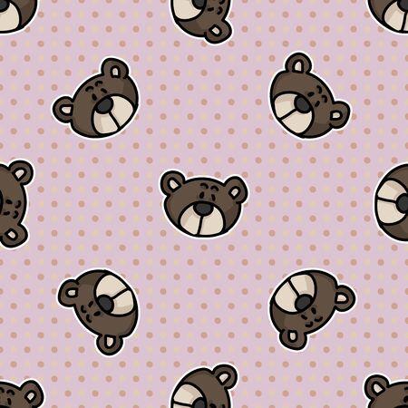 Cute stylized teddy bear plush head seamless vector pattern. Hand drawn kids soft toy on polkda dot background. Cuddly fluffy animal home decor. Love, child, cub all over print. Illustration