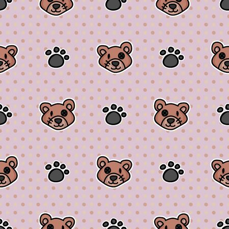 Cute stuffed button eyed teddy bear plush with paw pad seamless vector pattern. Hand drawn kids soft toy on striped background. Cuddly fluffy animal home decor. Joy, child, cub all over print. Illustration