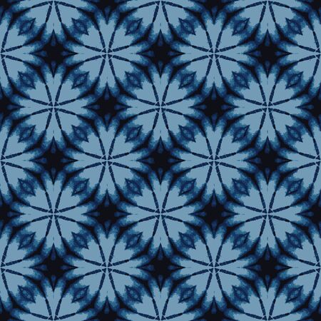 Shibori Tie Dye Indigo Blue Texture Background. Bleached Handmade Resist Seamless Pattern. Organic Cloth Effect Textile. Classic Japanese or Indonesian All Over Print. Vector Repeat Tile