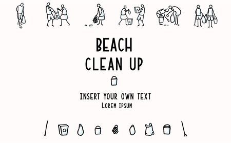 Beach Clean Up Flyer with Stick Figures Trash Collecting. Concept of Save the Planet. Icon Motif for Environmental Earth Day Volunteer Invitation, Eco Community Cleaning Recycling. Vector Illustration