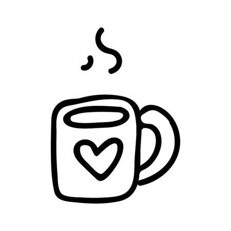 Cute Tea Mug Lineart Cartoon Vector Illustration. Hand Drawn Hot Drink Element Clip Art for Kitchen Concept. Breakfast Graphic, Monochrome Drink and Crockery Web Button Doodle Motif.
