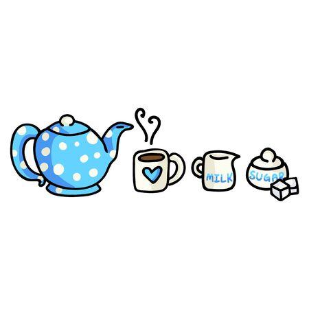 Cute Tea Time Cartoon Vector Illustration. Hand Drawn Hot Drink Element Clip Art for Kitchen Concept. Breakfast Graphic, Drink and Crockery Web Buttons. Sugar Bowl, Mug Doodle Motif. Illustration
