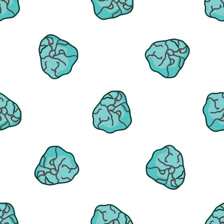 Mystic blue aquamarine crystal vector seamless pattern. Hand drawn birth stone geology crystal background. Trendy magic mineral fashion home decor. Esoteric all over mineral print.