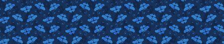 Butterfly Motif Embroidery Sashiko Kantha Vector Border Pattern. Asian Needlework Seamless Banner Edge. Indigo Blue Running Hand Stitch Texture Trim. Japan Decor. Simple Quilting Washi.