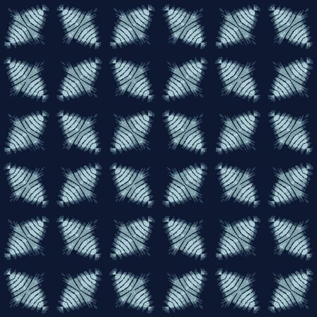 Shibori Tie Dye Indigo Blue Texture Background. Bleached Handmade Resist Seamless Pattern. Organic Cloth Effect Textile. Classic Japanese or Indonesian All Over Print.