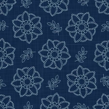 Floral Leaf Motif Sashiko Style Japanese Needlework Seamless Vector Pattern. Hand Stitch Indigo Blue Line Texture for Textile Print, Classic Japan Decor, Asian Backdrop.