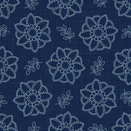 Floral Leaf Motif Sashiko Style Japanese Needlework Seamless Vector Pattern. Hand Stitch Indigo Blue Line Texture for Textile Print, Classic Japan Decor, Asian Backdrop.  イラスト・ベクター素材
