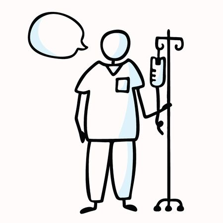 Hand Drawn Stick Figure Nurse with IV Drip & Speech Bubble. Concept Surgery Prop, Health Care Medical Hospital. Simple Icon for Clinic Treatment Clipart,Medic Staff Illustration. Illustration