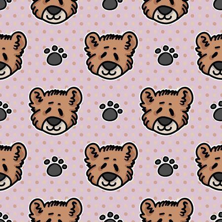 Cute teddy bear plush with paw pad seamless vector pattern. Hand drawn kids soft toy on striped background. Kawaii cuddly fluffy animal home decor. Joy, child, cub.