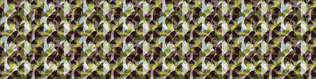 Retro Circle Mosaic Tile Seamless Border Pattern. Hand Drawn Textured Geo Background. Retro 1960s Style Tiled Kitchen Ribbon Trim, Packaging, Wallpaper. Color Block Transparent Banner. Illustration