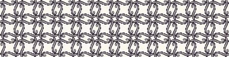 Hand Drawn Swirl Flourish Motif Seamless Border Pattern. Ornate Arabesque Ornamental Background. Classic Monochrome Black White. Bohemian Textile, Packaging Banner Ribbon Trim.