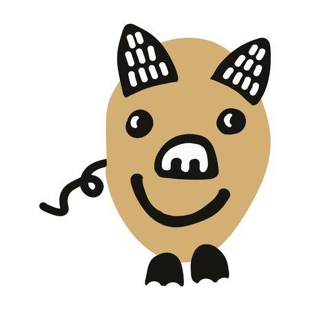 Kawaii doodle pig clipart. Hand drawn fat farm hog. Livestock cute illustration in flat color. Isolated kids, boar, swine, mammal.
