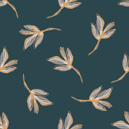 Watercolor Leaf Stem Vector Seamless Pattern. Leaves Blowing in the Wind Hand Painted White Background. Autumn Fall Mood Wildflower Illustration. Faded Transparent Pale Colors. Repeat Tile