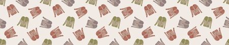 Winter Warmer Knitted Sweater Seamless Border Pattern. Seasonal Holiday background with Hand Drawn Jumper. Isolated Flat Color Doodle Icon. Scandi Hygge Knit Top. Muted Homespun Banner Vector