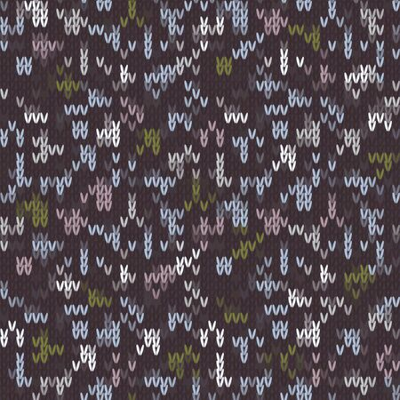 Knitted Marl Tweed Variegated Heather Texture Background. Dark Stitch Blended Homespun Seamless Pattern. Woolen Fabric, Cozy Winter Nordic Textile. Triblend Melange Nordic All Over Print Vector