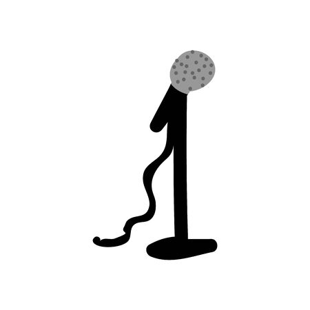 Hand Drawn Simple Microphone on Stand. Concept of Entertainment Media. Icon Motif for Club Pictogram Graphic. Music, Mic, Voice, Pop, Announcement, Bujo Illustration. Vector Illustration
