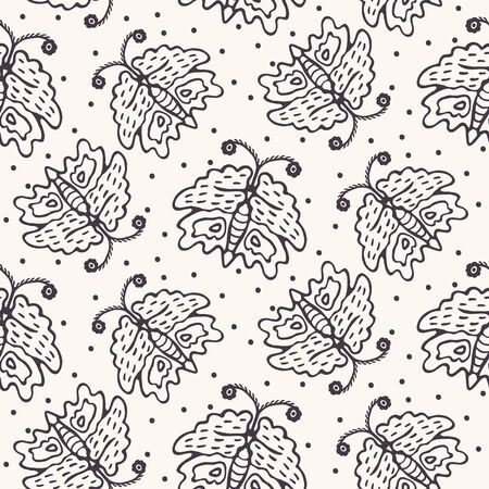Hand Drawn Doodle Butterfly Motif Seamless Pattern. Simple Playful Monochrome Background. Folk Art Sketch Style Textile, Packaging, Wallpaper. Childish Naive All Over Print Vector