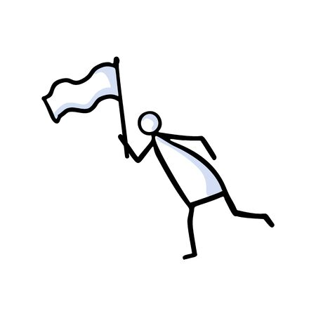 Running Stickman Waving Flag and Racing toward Goal. Hand Drawn Isolated Person Doodle Icon Motif Element. Flat Color. Good for Sport Relay Run, Winner Lap Concept. Simple Pictogram