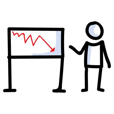 Hand Drawn Stick Figure Business Loss Chart. Concept of Finance Report Expression. Simple Incon Motif for Stock Money Economic Forecast. Statistic, Investment Bujo Illustration. Vector