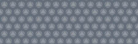 Steel Grey Naive Daisy Bloom Seamless Border Pattern. Hand Drawn Monochrome Floral background. Neutral muted tones. Japanese Bloom Wagara Edging. Daisies Flower Ribbon Trim Bordure